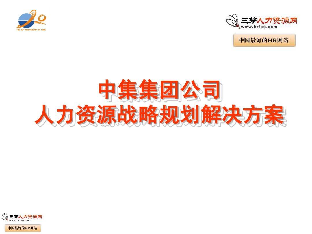 中集集装箱集团公司人力资源战略规划解决方案PPT