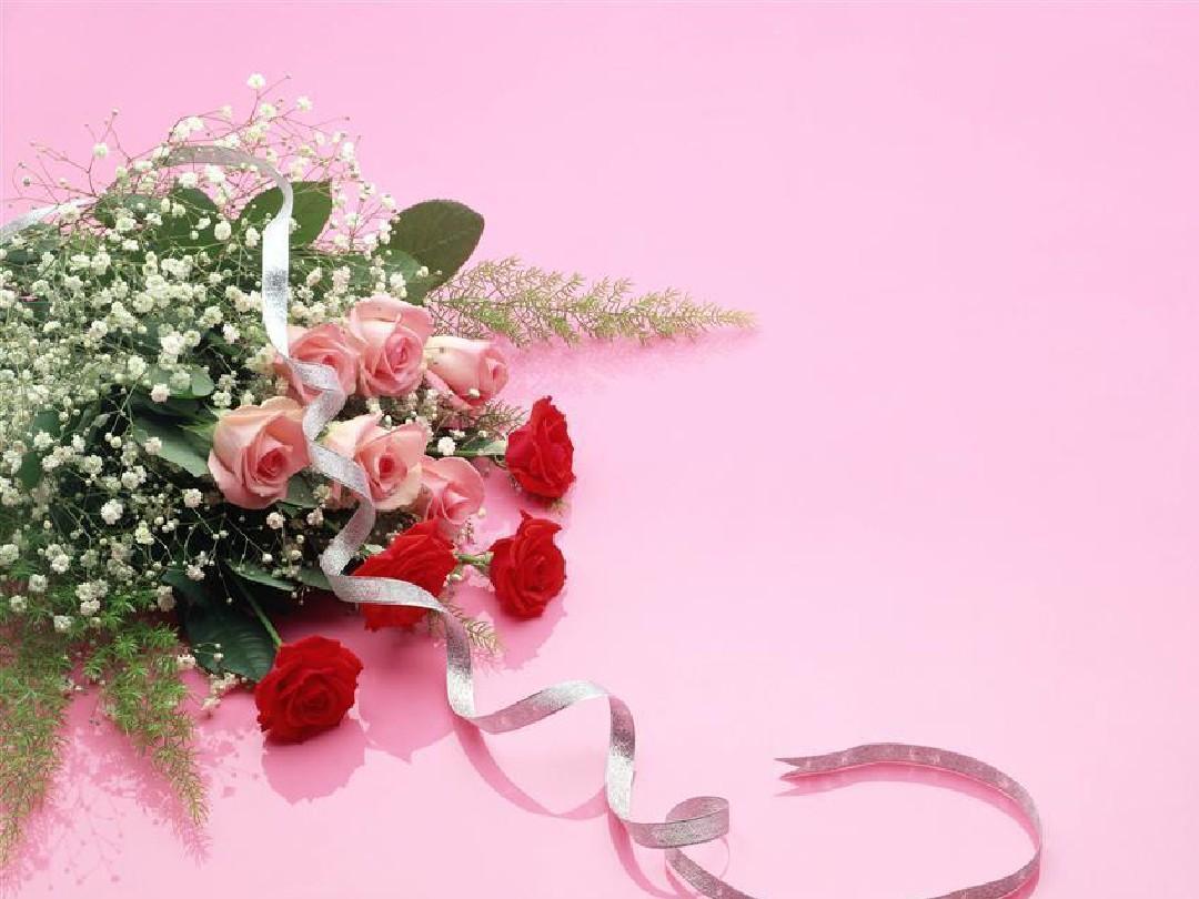 求婚婚礼 浪漫唯美 幸福甜蜜 爱情桃心粉玫瑰 PPT背景图片