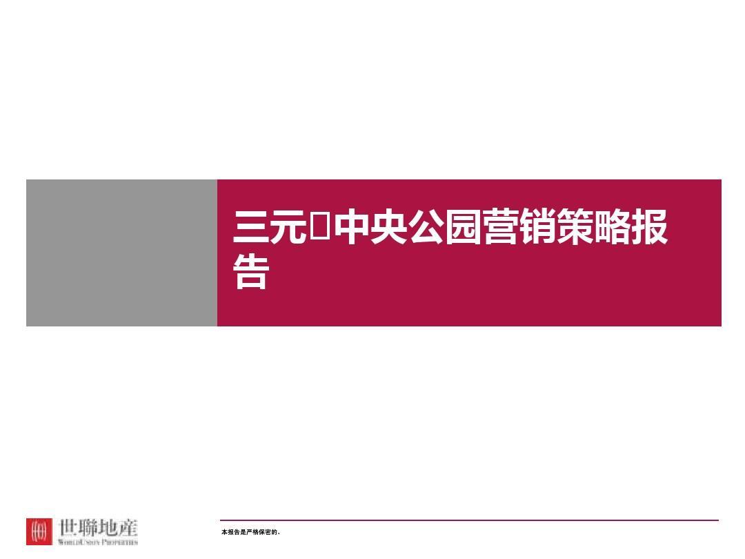 201404_世联_武汉三元中央公园综合体项目营销策略报告PPT