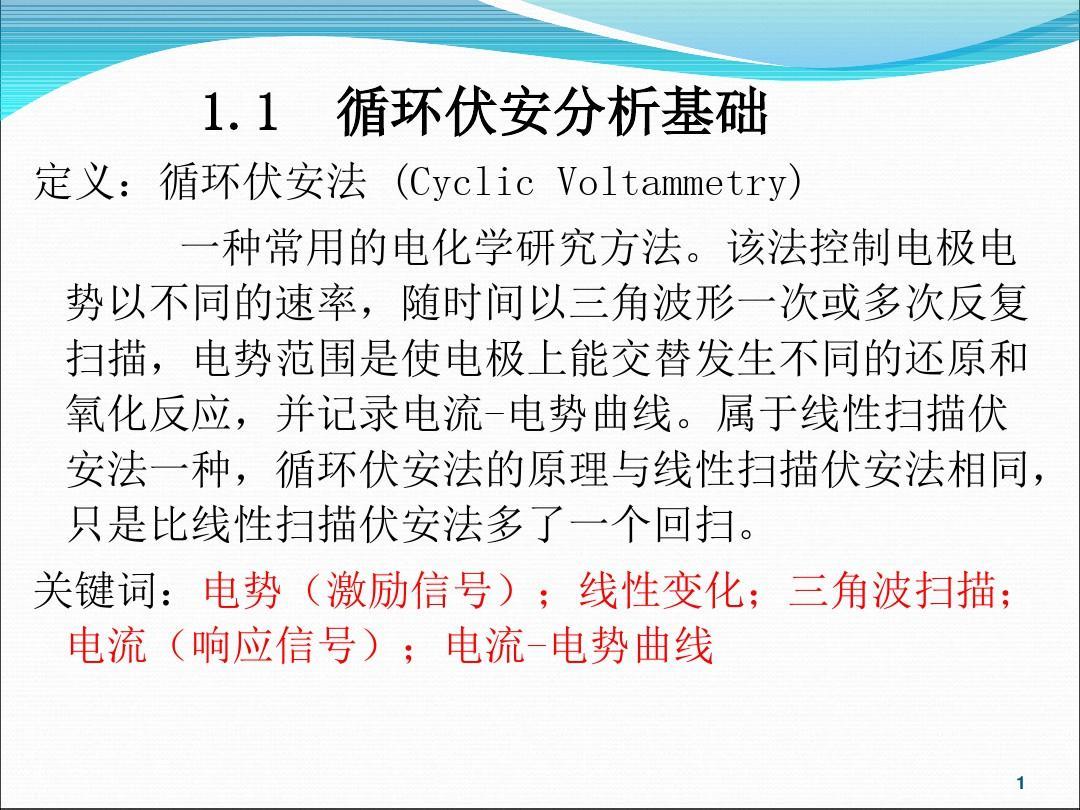 研究方法循环伏安法(CV)