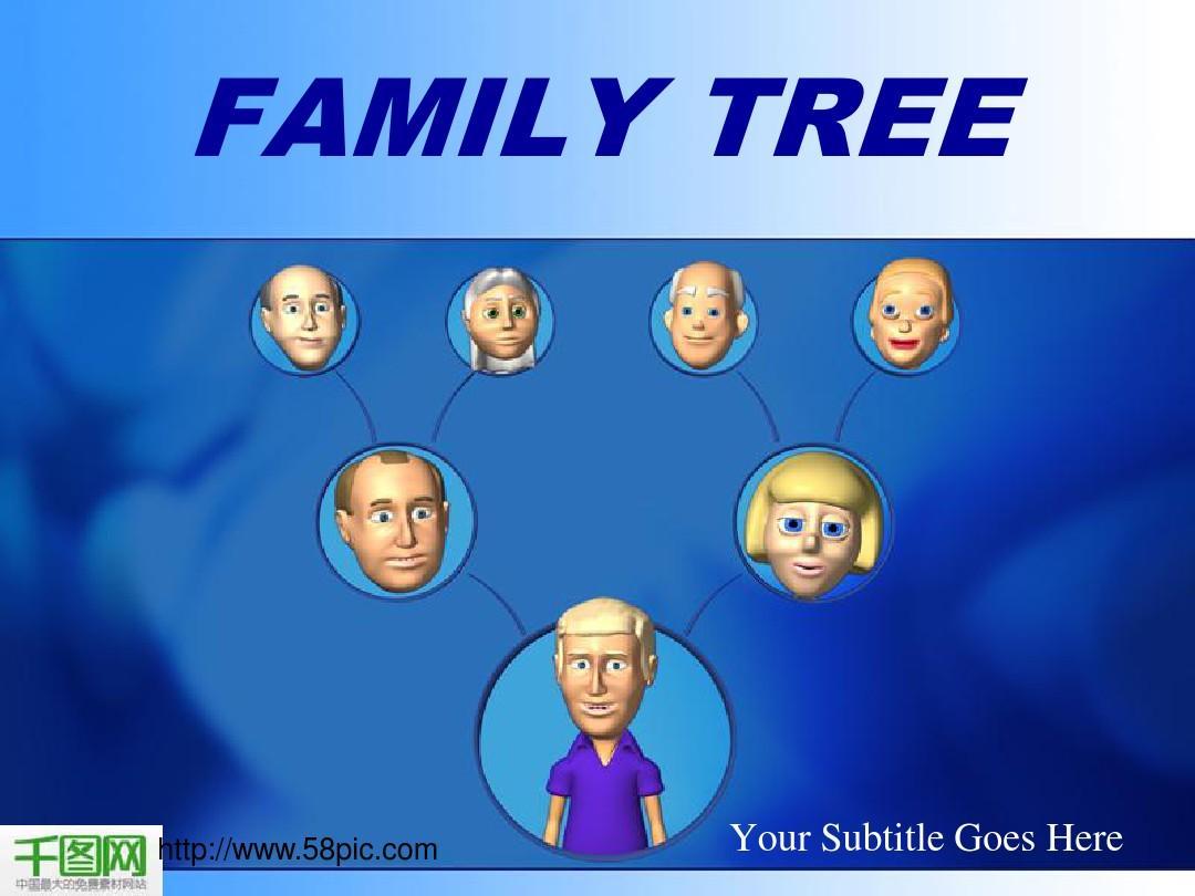 国外卡通家庭构成PPT模板