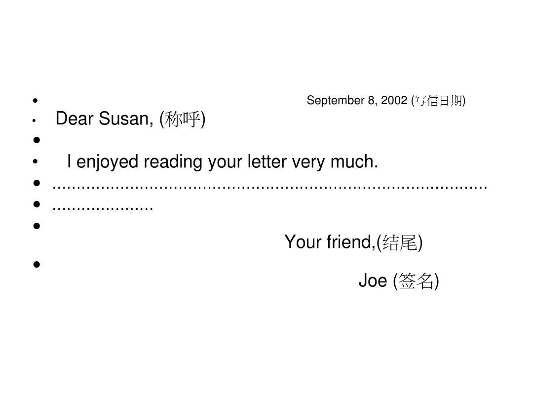 英语学习 英文书信格式ppt  非常详细 september 8, 2002 (写信日期)图片