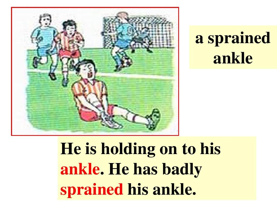 he is holding on to his ankle. he has badly sprained his ankle.
