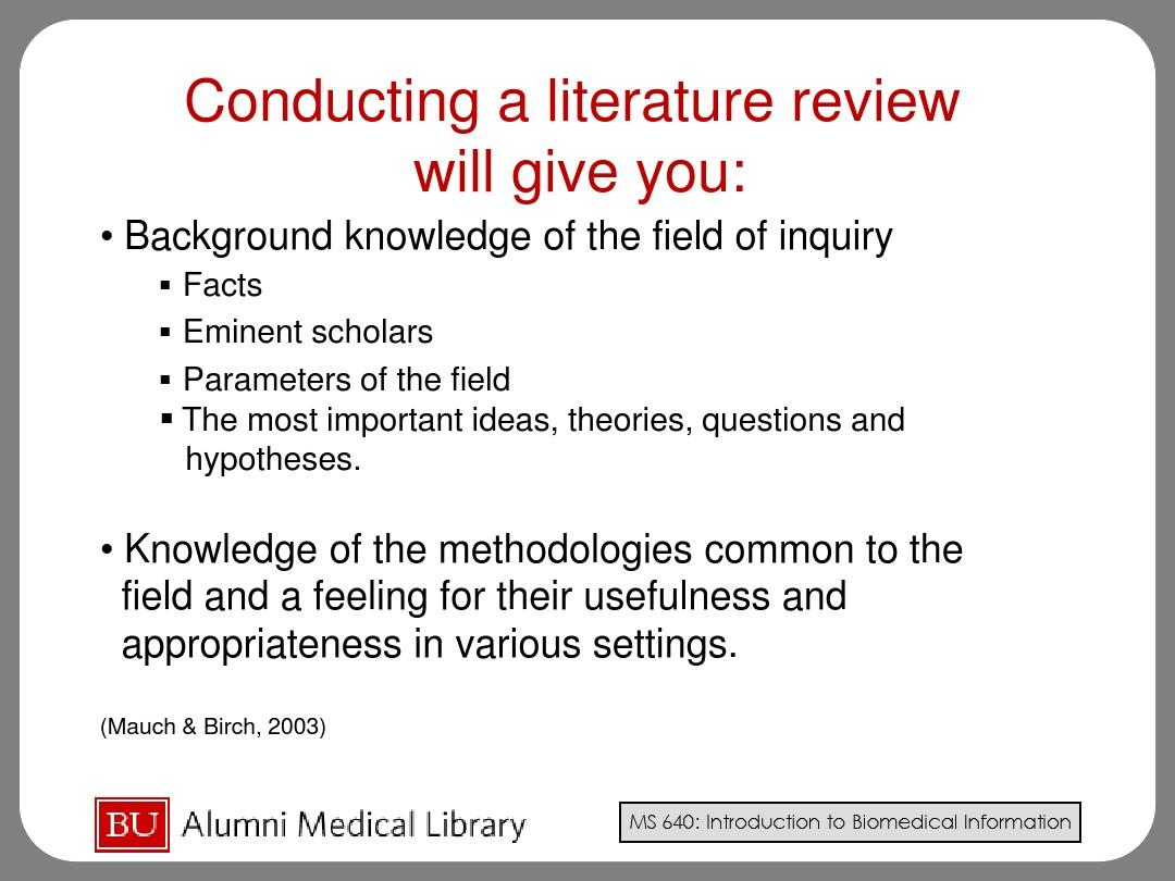 importance of conducting a literature review