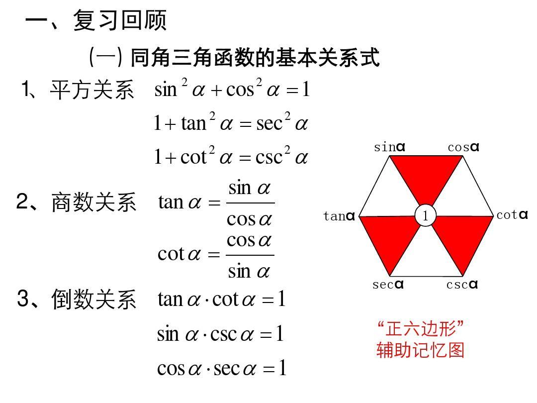 同角三角函数的基本关系式与诱导公式(复习)[上