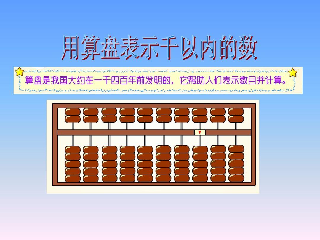 最新苏教版二年级数学下册用算盘表示千以内的数ppt课件