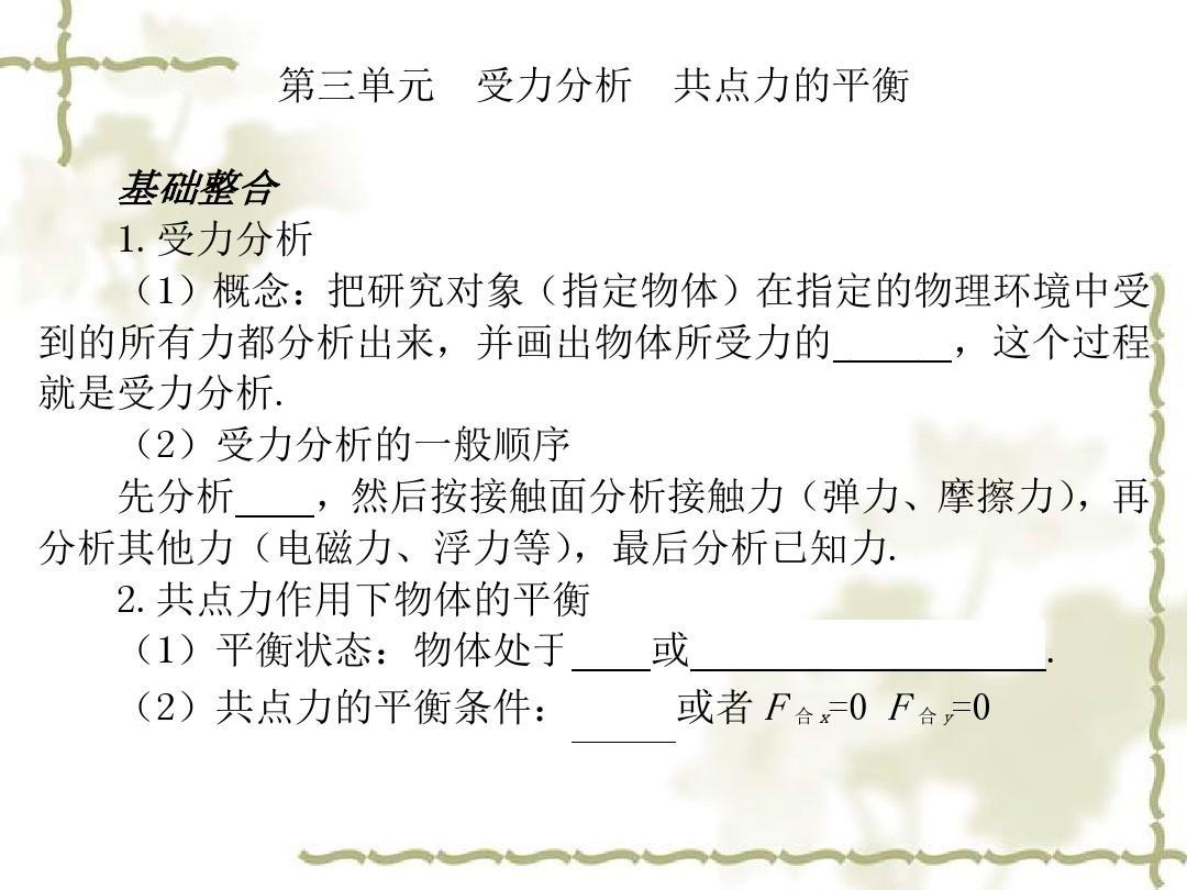 (3) 受力分析  共点力的平衡PPT