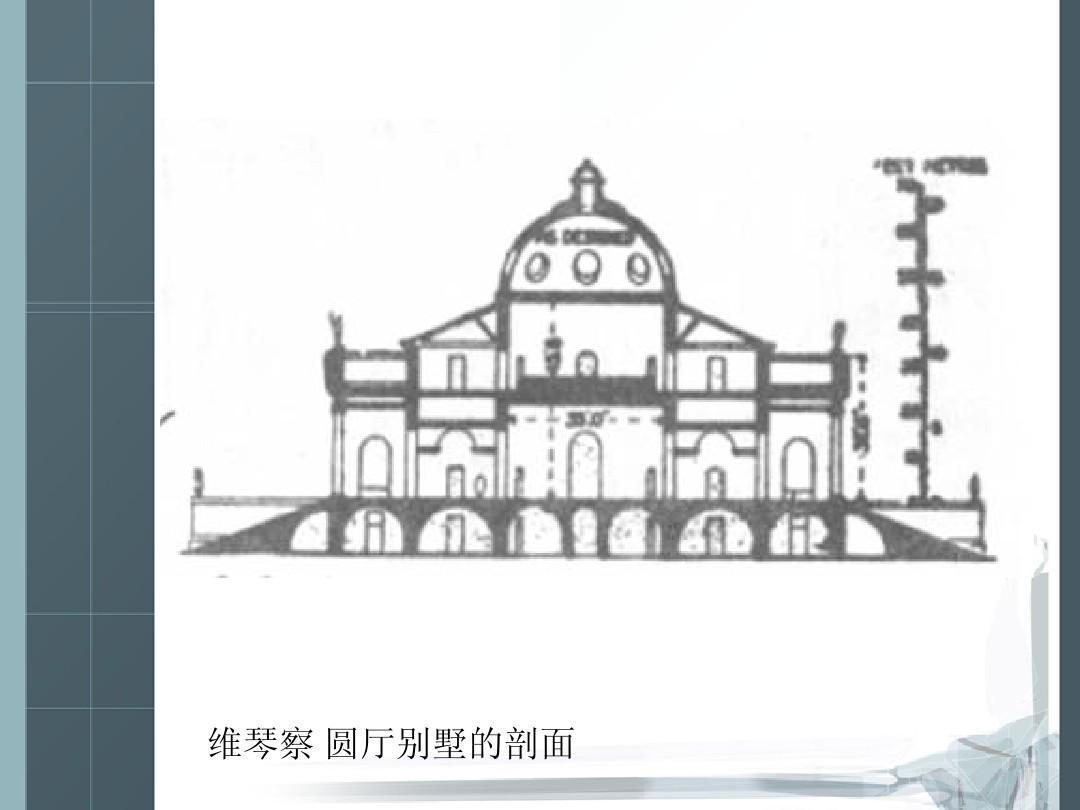 维琴察圆厅别墅的外观别墅视频剖面图片