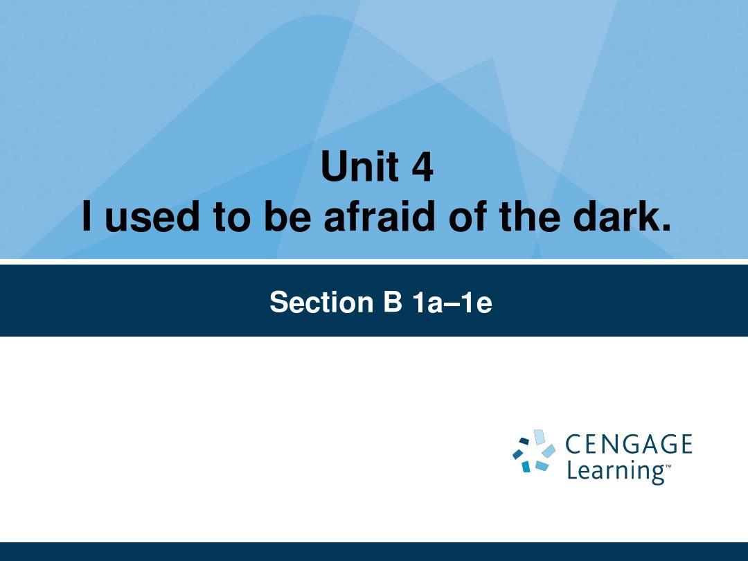 九年级 unit 4 I used to be afraid of the dark  B 1a-1e