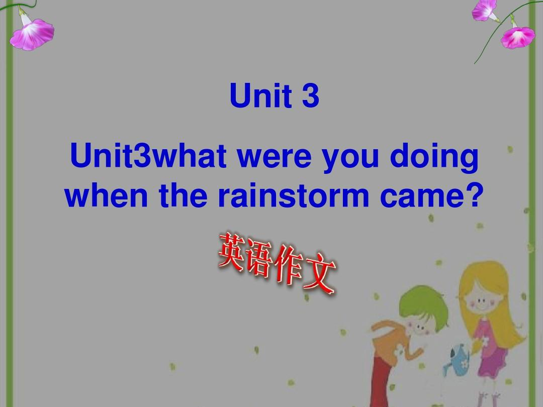 Unit3what were you doing when the rainstorm came课本作文