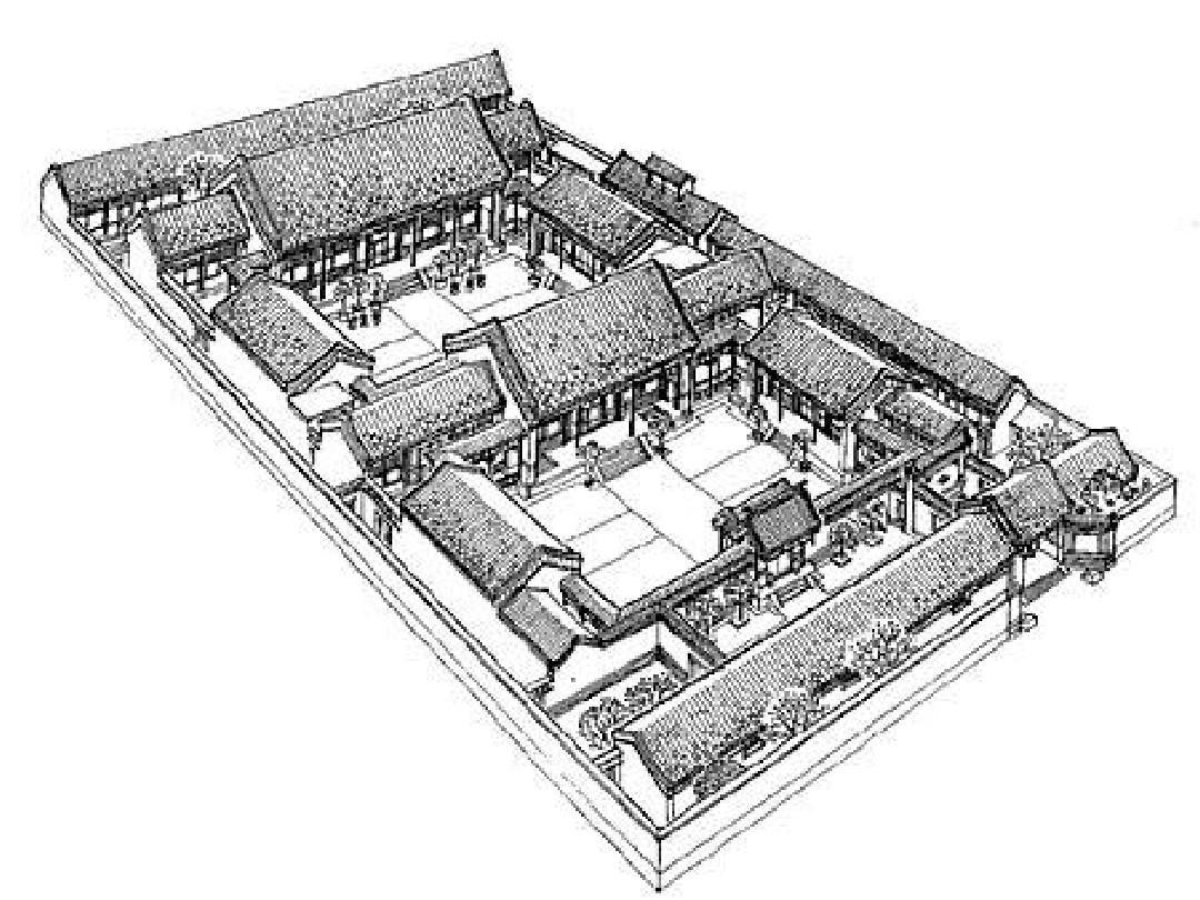 院落布局的中国古建筑ppt图片