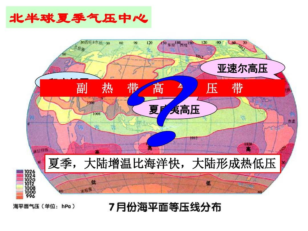 北半球夏季气压中心 亚速尔高压 印度低压图片