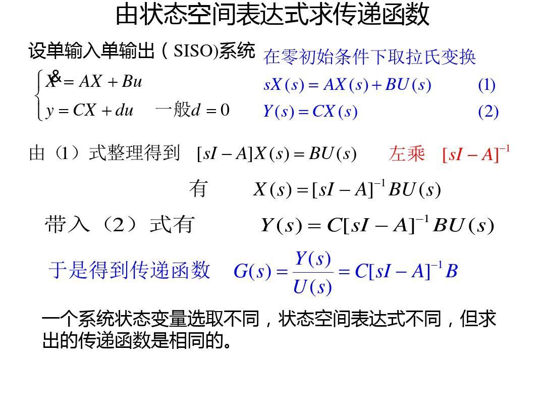 由状态空间表达式求传递函数
