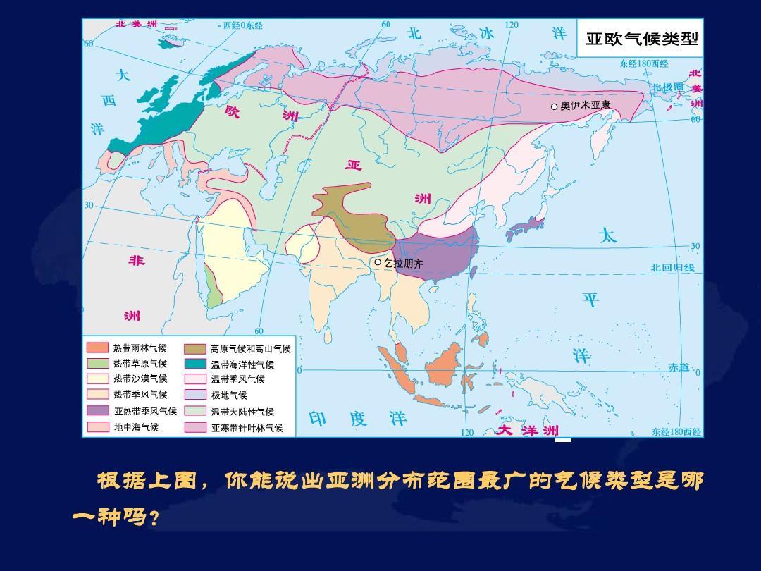 亚洲候类型分布?_亚洲的气候ppt  根据上图,你能说出亚洲分布范围最广的气候类型是哪