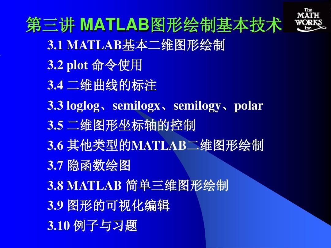 MATLAB第3讲二维和三维图形绘制PPTmaya网格绘制图片