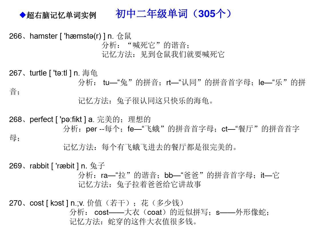 形象超初中快速英语单词记忆记忆法(右脑英语981个单词右脑编码)ppt漂亮操初中生30p图片