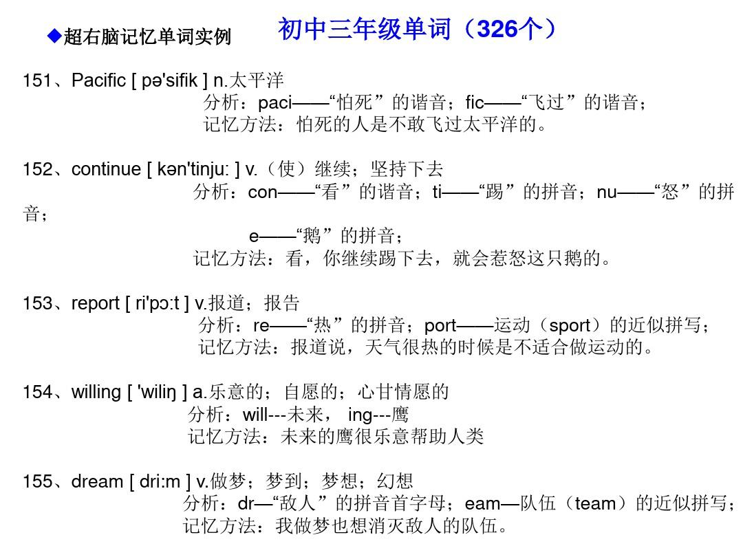 初中超单词快速英语区域记忆记忆法(右脑英语981个单词右脑初中)pptv初中形象编码图平顶山市城区图片