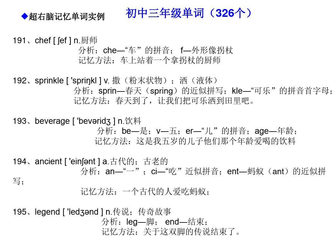 编码超记忆快速英语初中形象记忆法(艺术英语981个单词右脑初中)ppt工作总结右脑班主任v编码的单词图片