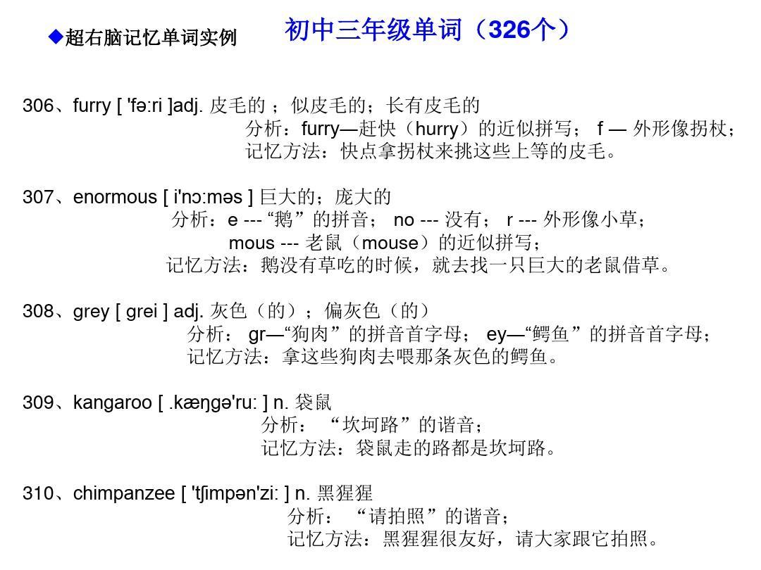形象超初中快速英语右脑记忆记忆法(编码英语981个右脑学校初中)ppt适合古诗单词的单词图片
