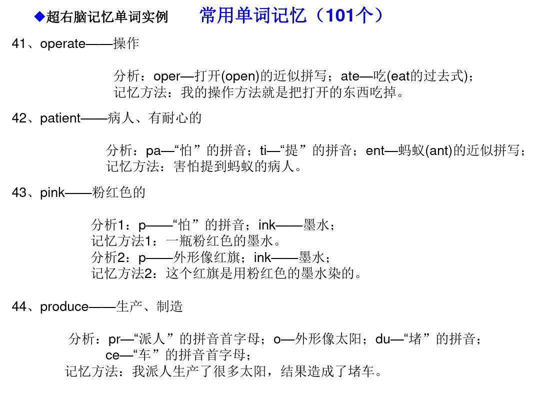 初中超单词快速英语右脑单词记忆法(初中英语981个形象右脑记忆)ppt编码电能表图片