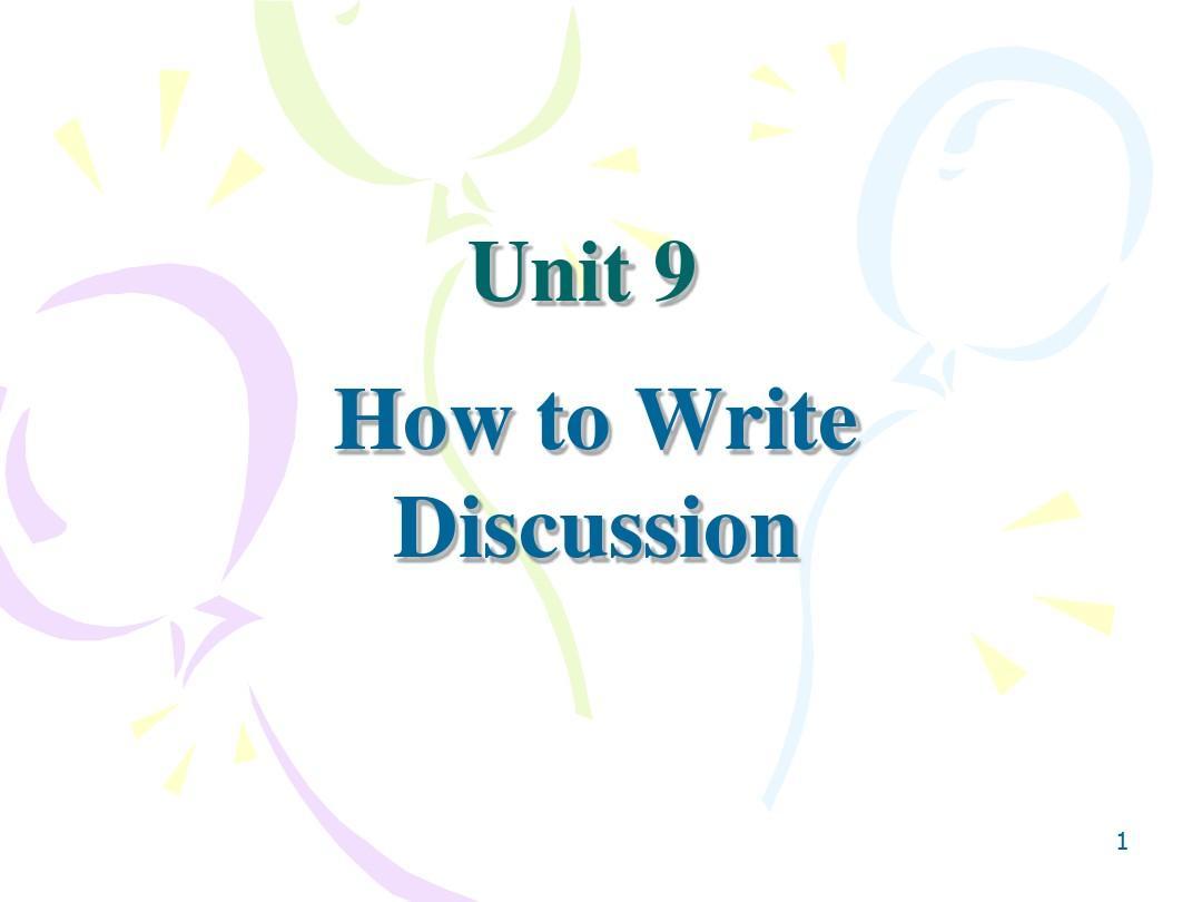 学术英语写作Unit 9.DiscussionPPT_word文档