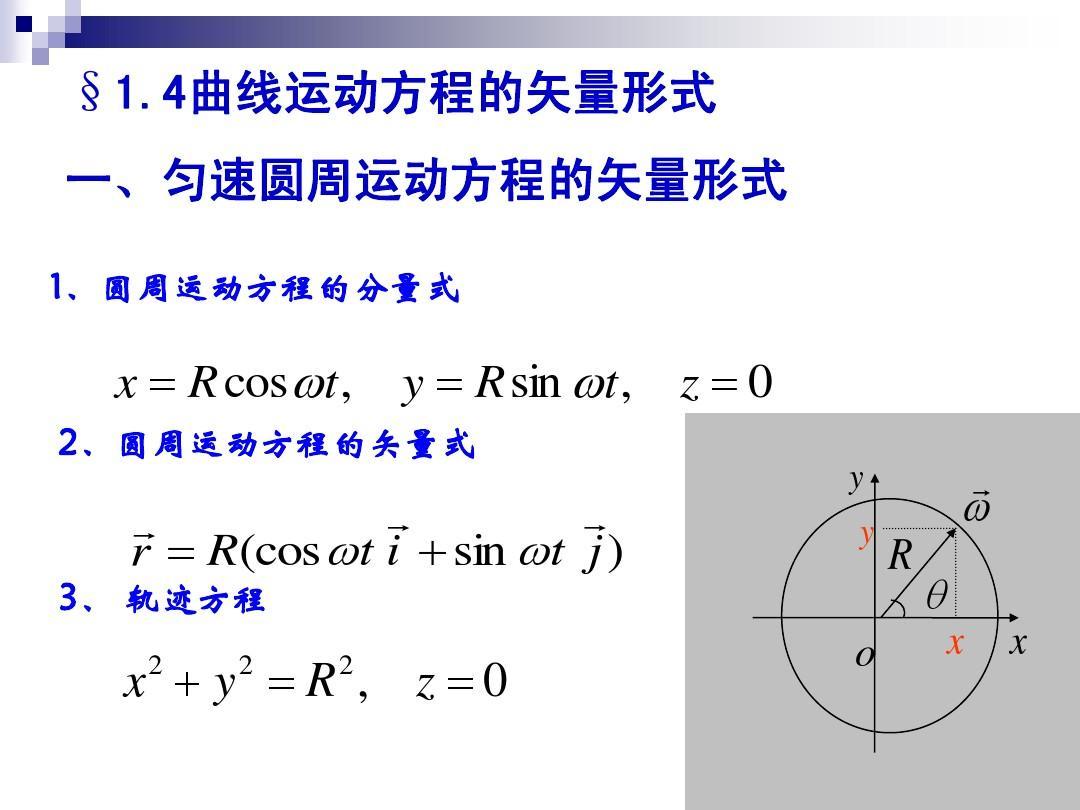 曲线运动方程的矢量形式
