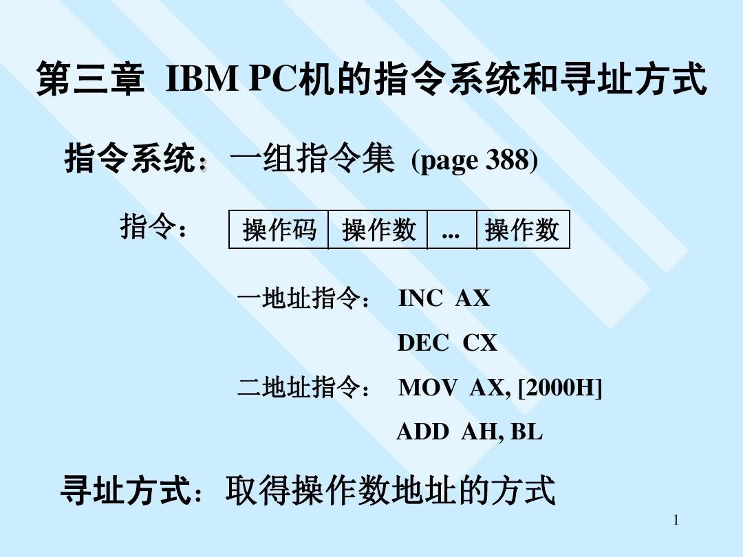 IBM PC机的指令系统和寻址方式