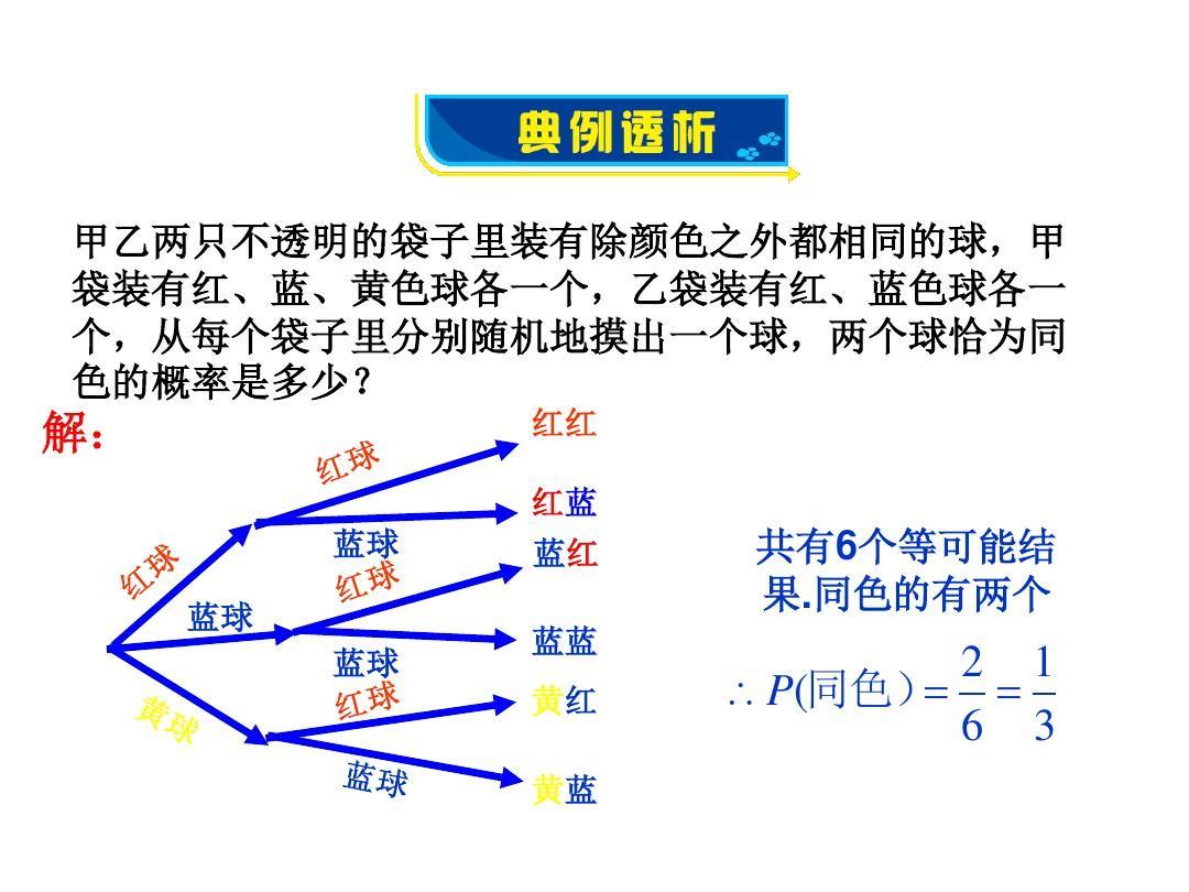 新青岛版九年级数学下册同步教学课件6.7利用画树状图图片
