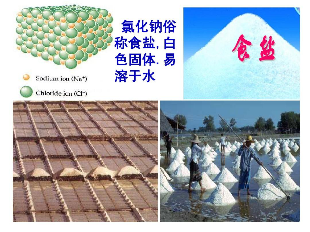 氯化钠俗 称食盐,白 色固体.易 溶于水