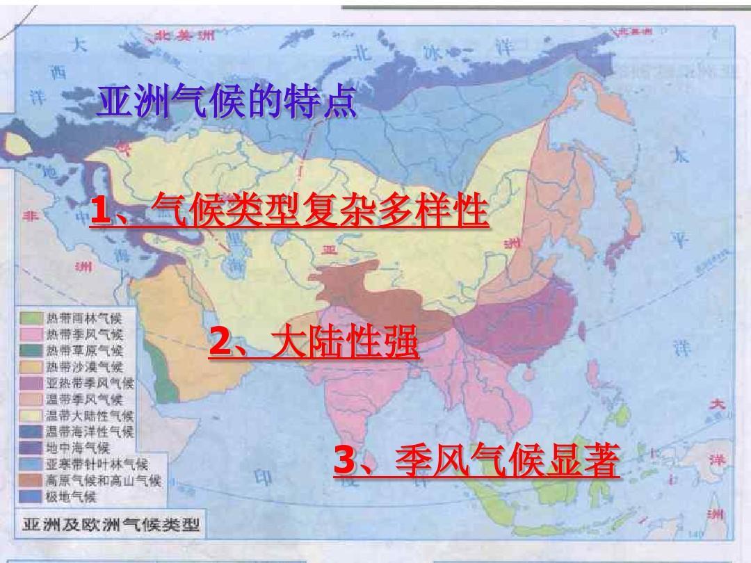 亚洲候类型分布�_亚洲气候的特点 1,气候类型复杂多样性 2,大陆性强 3,季风气候显著