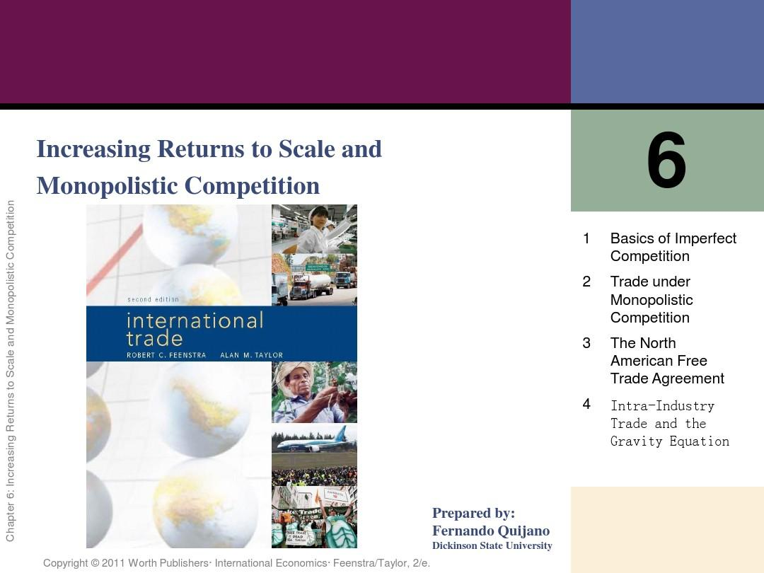 ch06 Increasing Returns to Scale and Monopolistic Competition(国际贸易课件(BobertC.Feenstra)PPT