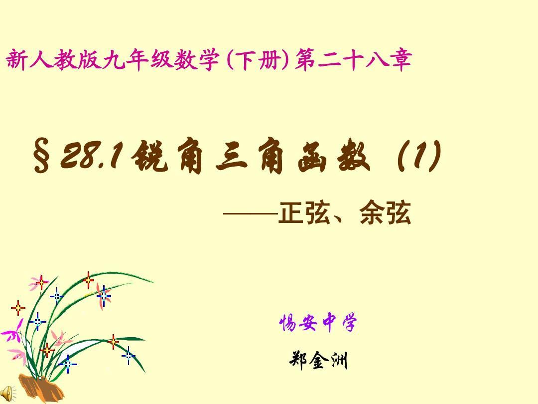 数学九年级人教版第二十八章解直角三角形锐角三角函数正弦余弦.ppt