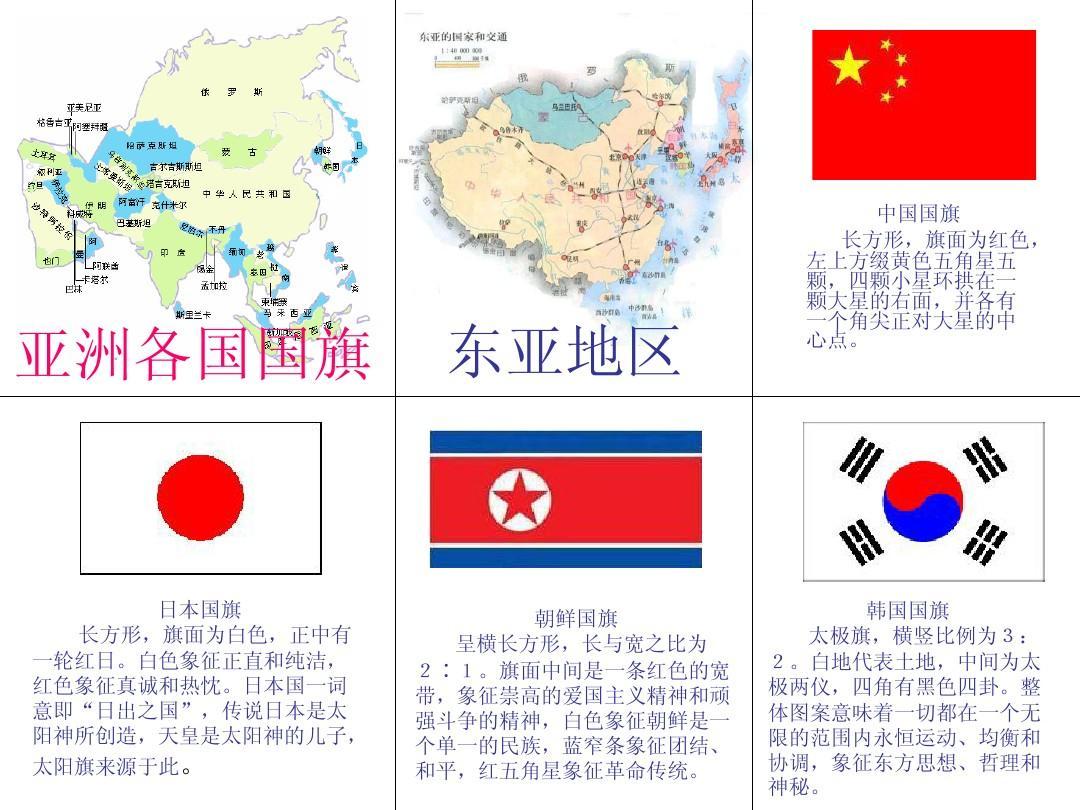 亚洲国家国旗_亚洲各国国旗卡片ppt