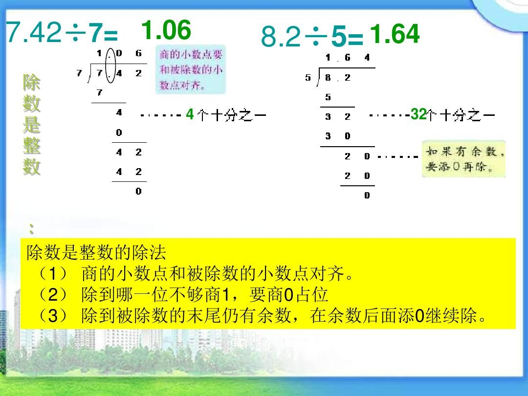 6432:手工是整数的教案(1)商的小数点和被除数的小数点对齐.除法新疆帽除数图片