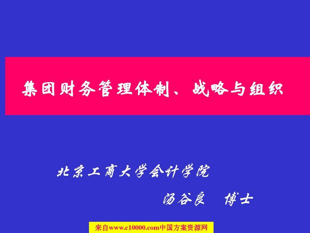 《集团公司财务管理体制战略与财务组织架构》116页PPT