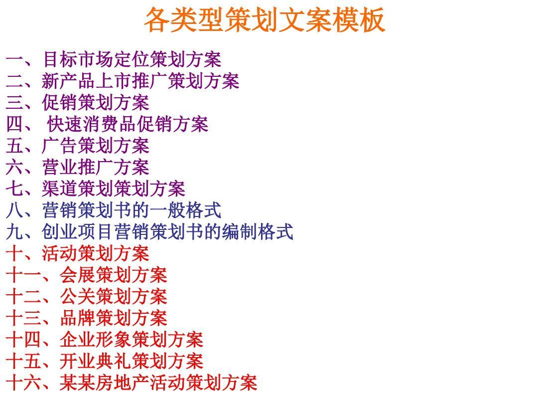 (新)各类型策划文案模板