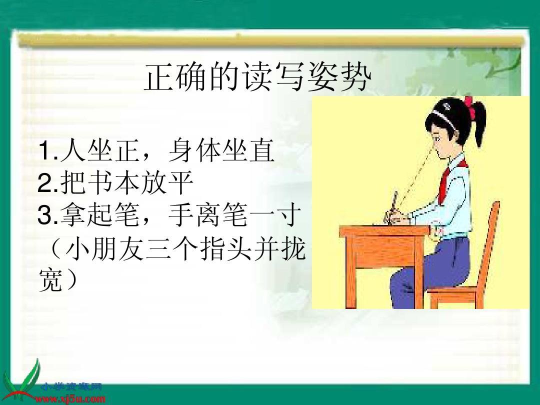 正確的讀寫姿勢 1.人坐正,身體坐直 2.把書本放平 3.圖片