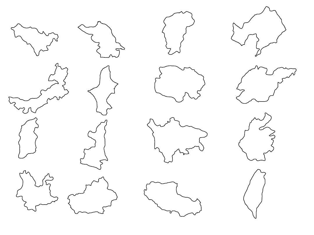 中国各省地图形状无字