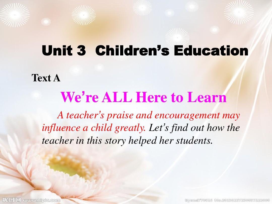 大学英语 精读 预备级 unit3 we are all here to learn