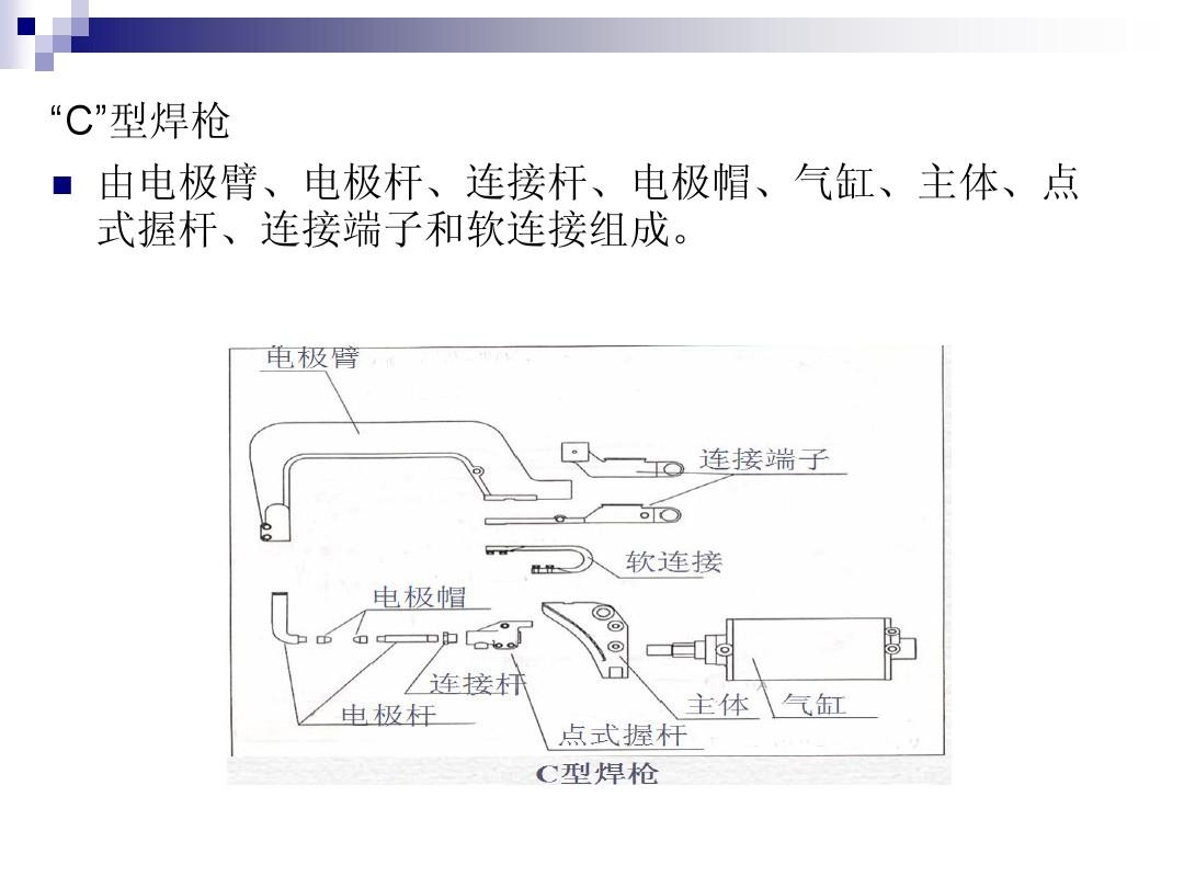 """c""型焊枪 由电极臂,电极杆,连接杆,电极帽,气缸,主体,点 式握杆,连接图片"