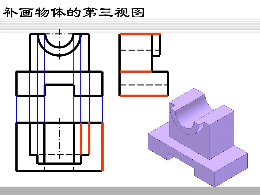 机械制图补画第三视图图片