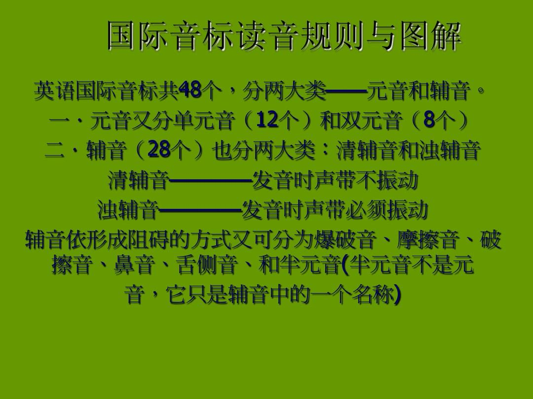 国际音标读音规则与图解 英语国际音标共48个,分两大类——元音和辅音图片