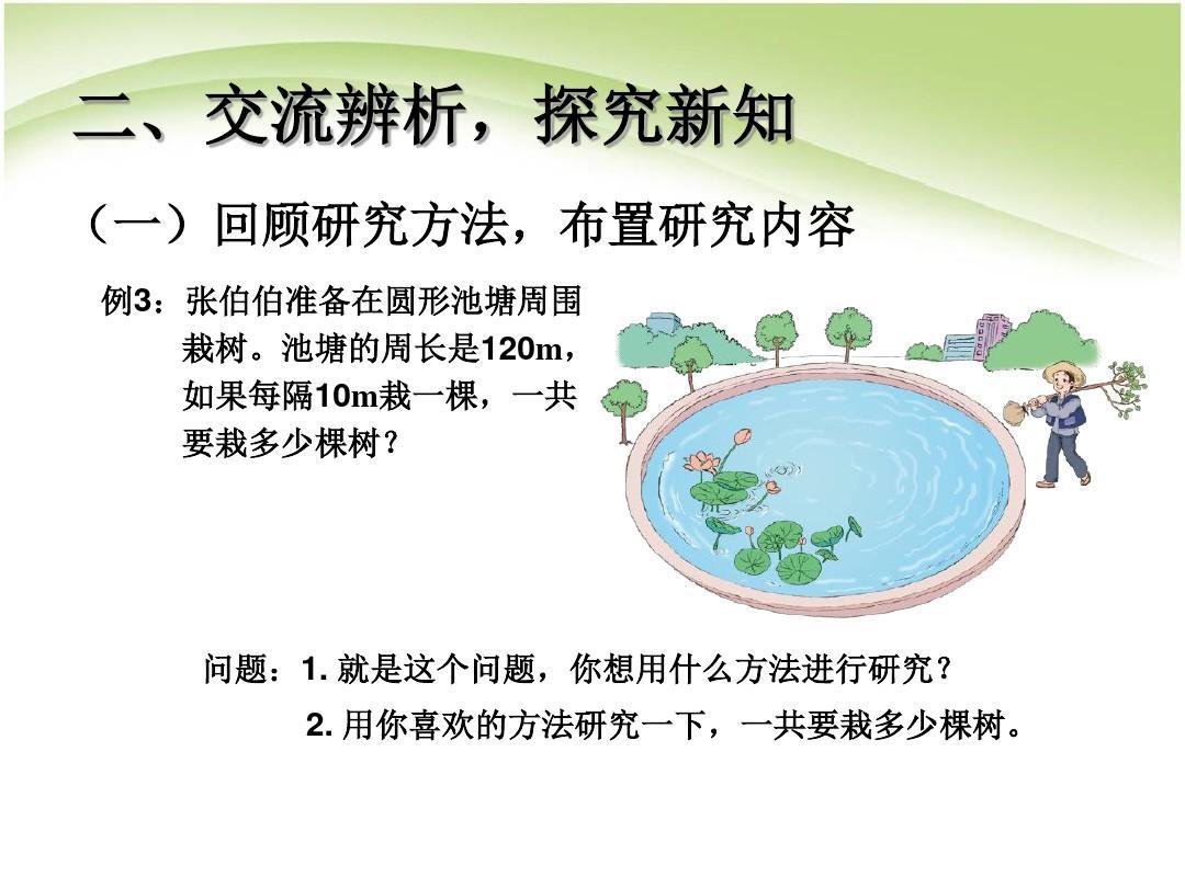 五课件问题数学《广角模板》植树图形例3(封闭教学)上册ppt年级教学剑魂20人安图恩数学图片
