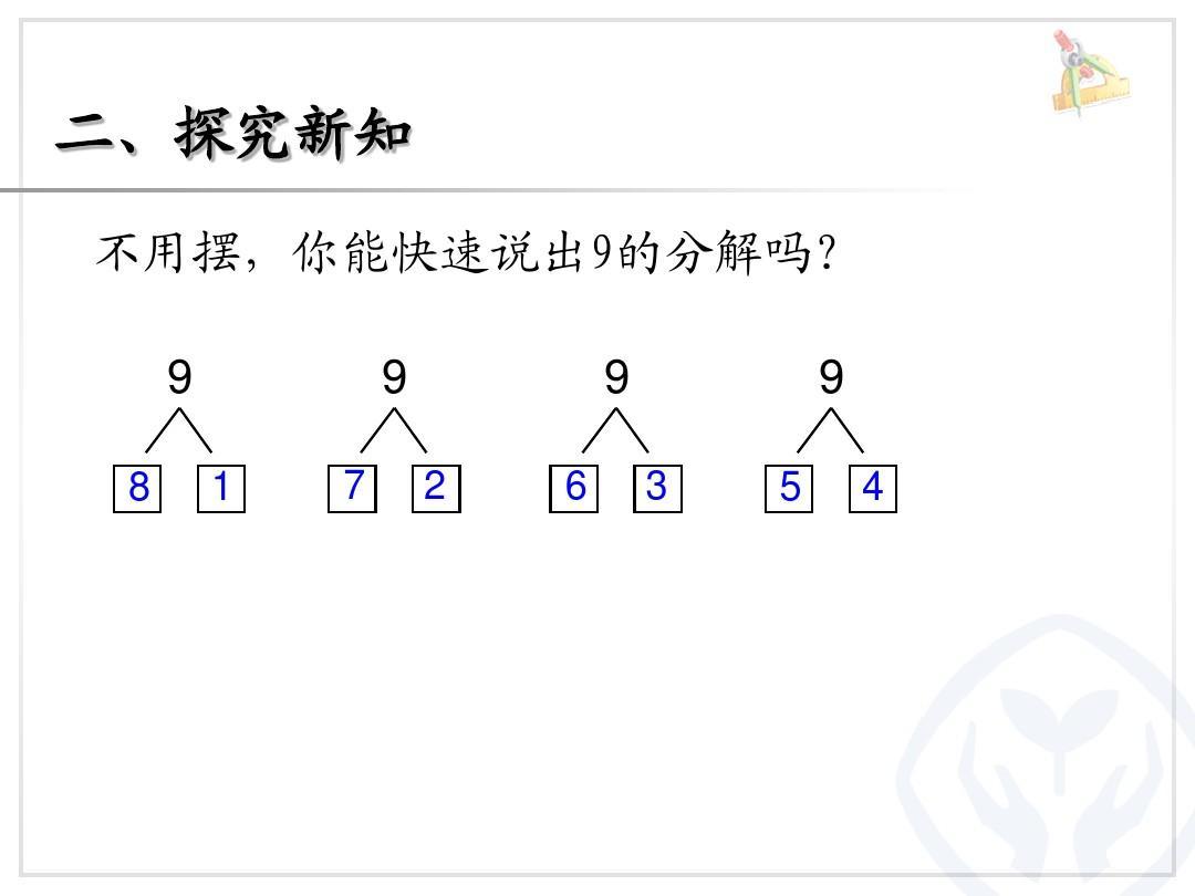 二,探究新知 不用摆,你能快速说出9的分解吗? 9 8图片