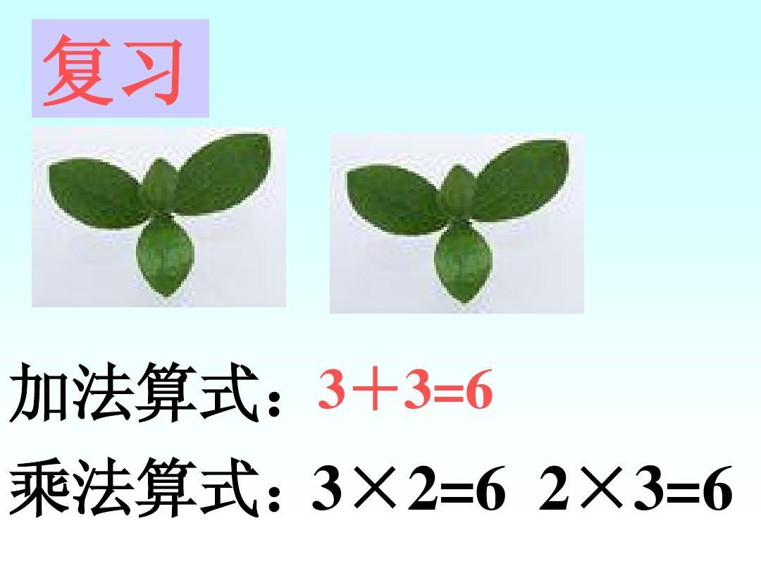 加法算式:3+3=6 乘法算式: 3×2=6 2×3=6图片