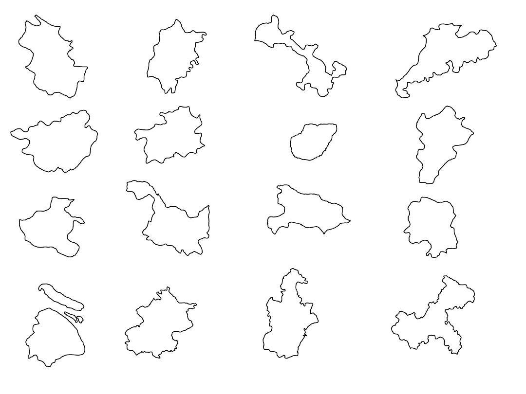 中国各省地图形状ppt
