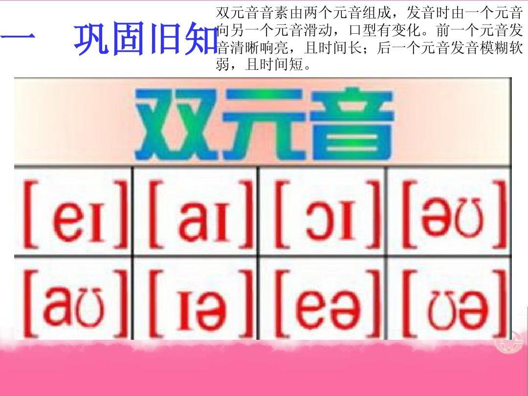 音标,单词,句子层层递进 一 巩固旧知 双元音音素由两个元音组成,发音图片