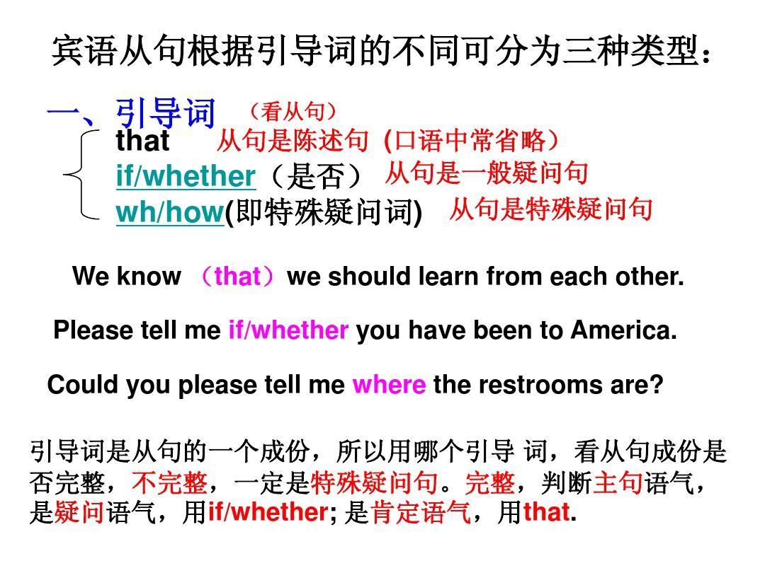 宾语从句中的是否是当主句为否定时只用if,还是