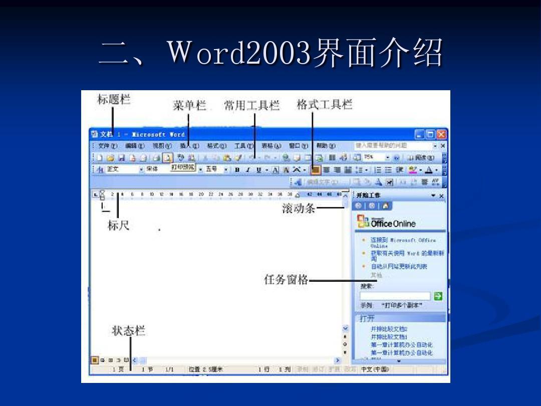 word2003界面介绍ppt图片