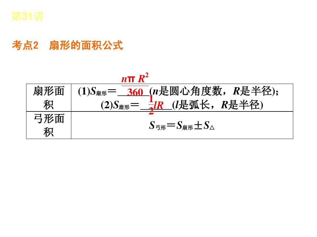 2013屆華東師大版數學全國中考復習方案第31講弧長,扇形,圓錐的計算圖片